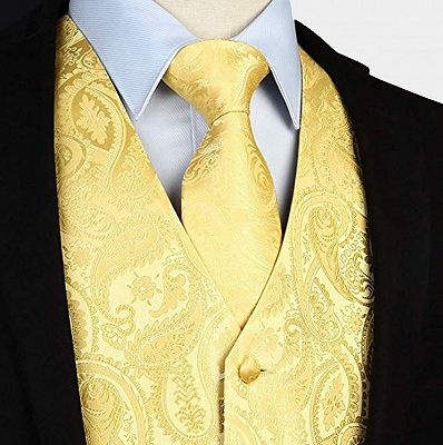 Silk Yellow Paisley Vest with Tie Set_3