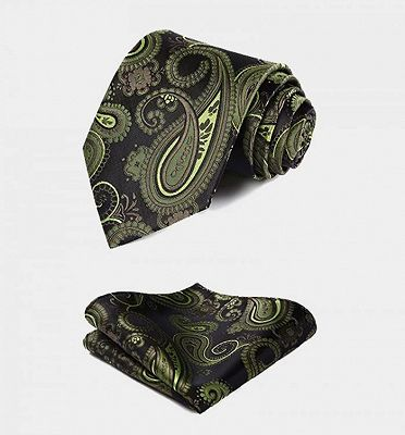Stylish Olive Green Paisley Mens Vest Set_4