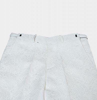 White Jacquard Wedding Men Suits | Elegant Two Piece Shawl Lapel Groom Suits_5