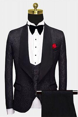 Business Black Men Suits | Formal Three Pieces Jacquard Wedding Suits_1