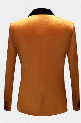 Gold Velvet Tuxedo Jacket with One Button | Classic Suit Sizes for Men_2
