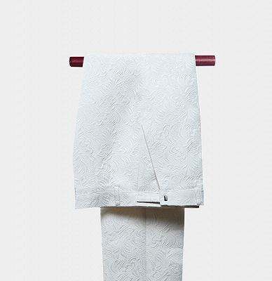White Jacquard Wedding Men Suits | Elegant Two Piece Shawl Lapel Groom Suits_4