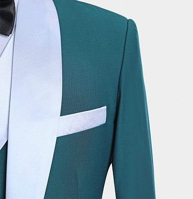 Teal Blue Tuxedo with Light-colored Trim | Formal Business Men Suits_5