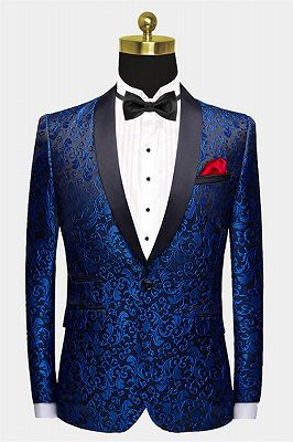 Blue Jacquard Tuxedo Jacket Online | Bespoke Slim Fit Men Suits for Prom_1