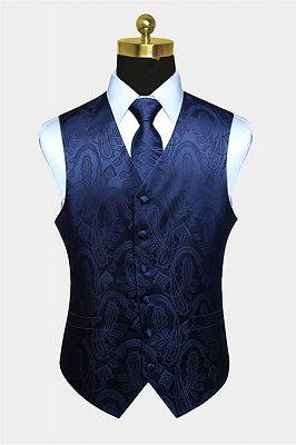Navy Blue Paisley Prom Suits Mens Vest Set_1
