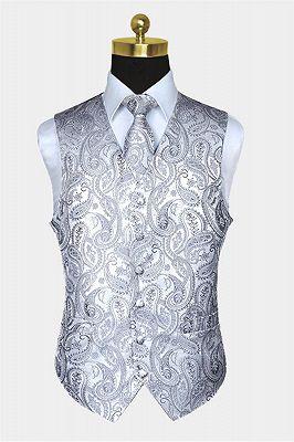 Silver Paisley Vest Set   Bespoke PromMens Vest_1