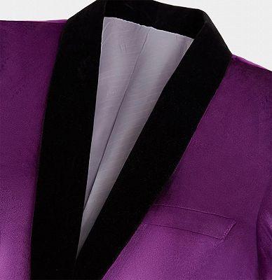 Simple Purple Velvet Men Suit | One Piece Mens Slim Suits_3