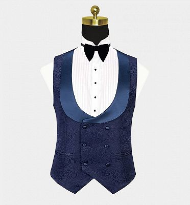 Navy Blue Three Pieces Tuxedo Online| Jacquard Bespoke Men Suits_3