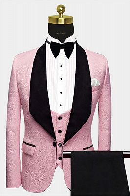 Gorgeous Pink Jacquard Prom Suits | Three Pieces Men Suits with Black Lapel_1
