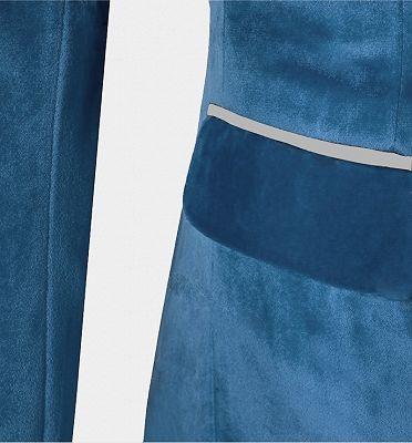 Cerulean Blue Velvet Tuxedo   Three Pieces Mens Skinny Fit Suits_4