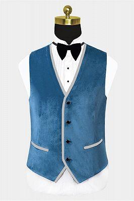 Cerulean Blue Velvet Tuxedo   Three Pieces Mens Skinny Fit Suits_2