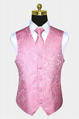 Fashion Silk Light Pink Paisley Mens Vest for Prom Online_1