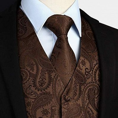 Brown Tailored Paisley Waistcoat with Tie_3