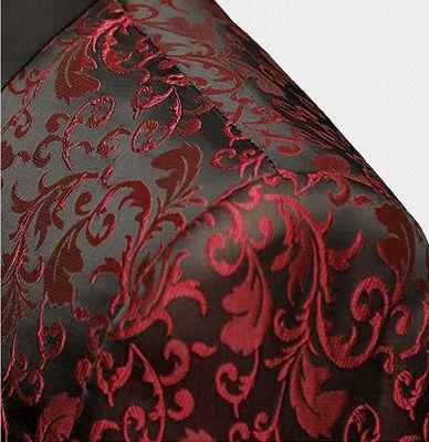 Burgundy Paisley Tuxedo Jacket | Glamorous Jacquard Blazer for Prom_3