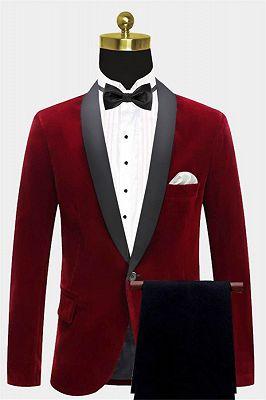 Burgundy Velvet Blazer Jacket | Two Pieces Shawl Lapel Men Suits_1