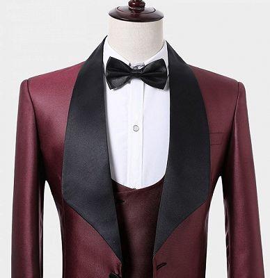 Fashion Burguny Three Pieces Men Suits   Black Shawl Lapel Tuxedo Online_4