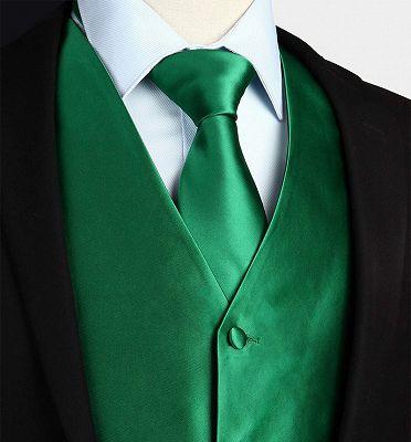 Silk Emerald Green Waistcoat And Tie Set_3