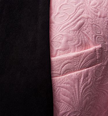 Gorgeous Pink Jacquard Prom Suits | Three Pieces Men Suits with Black Lapel_3