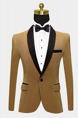 Glitter Sequin Blazer for Men | Custom Gold Men Suits for Prom_1