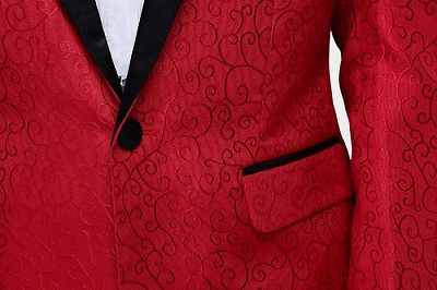 Red Jacquard Tuxedo Jacket Online   Glamorous Men Suits with One Button_4