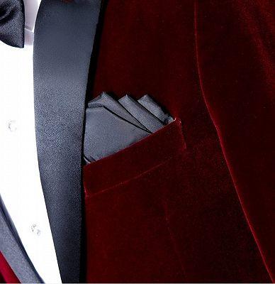 Burgundy Velvet Blazer Jacket | Two Pieces Shawl Lapel Men Suits_3