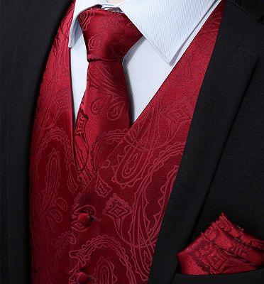 Red Paisley Slim Fit Waistcoat for Men_3