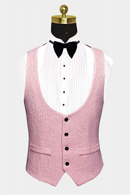 Gorgeous Pink Jacquard Prom Suits | Three Pieces Men Suits with Black Lapel_2