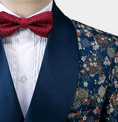 Double Breasted Navy Blue Men Suits for Prom | Floral Tuxedo with 3 Pieces_4