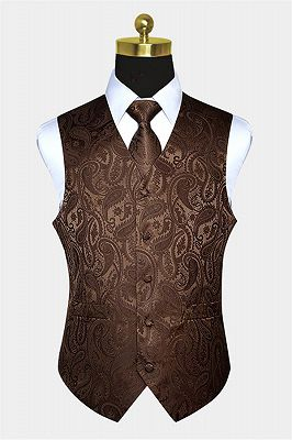 Brown Tailored Paisley Waistcoat with Tie