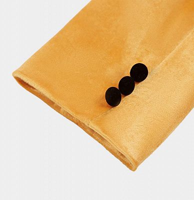 Yellow Velvet Blazer Suits | Slim Fit One Button Prom Tuxedo_5