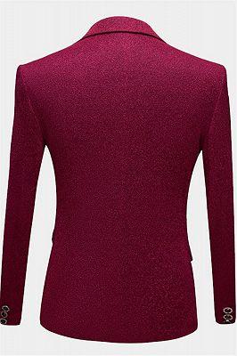 Cheap Fuchsia Glitter Tuxedo Jacket | Sequin Slim Fit Prom Men Suits_2