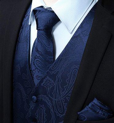 Navy Blue Paisley Prom Suits Mens Vest Set_3