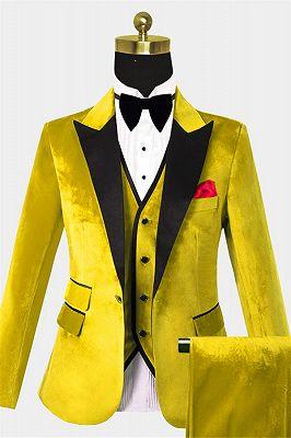 Yellow Velvet Tuxedo for Men | Three Pieces Slim Fit Prom Suits_1