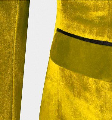 Yellow Velvet Tuxedo for Men | Three Pieces Slim Fit Prom Suits_4