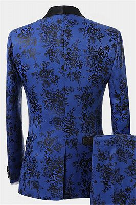 Blue Three Pieces Men Suits with Black Floral | Cheap Shawl Lapel Tuxedo_2