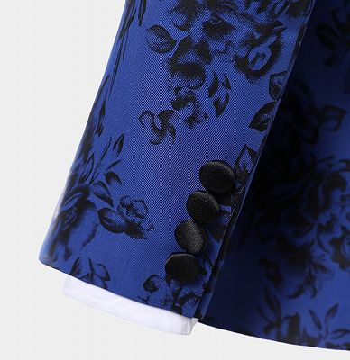 Blue Three Pieces Men Suits with Black Floral | Cheap Shawl Lapel Tuxedo_5