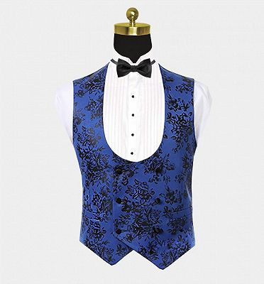 Blue Three Pieces Men Suits with Black Floral | Cheap Shawl Lapel Tuxedo_4