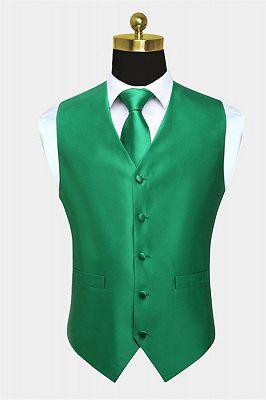 Silk Emerald Green Waistcoat And Tie Set_1