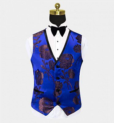 Bronze Royal Blue Floral Tuxedo Online | Tailored Three Pieces Men Suits_3