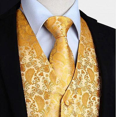 Tailored Gold Paisley Waistcoat with Tie Online_3