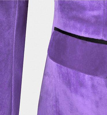 Iris Purple Velvet Tuxedo with Peak Lapel | Three Pieces Slim Fit Men Suits for Prom_4