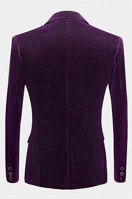 Shiny Purple Sequin Blazer Online | Peak Lapel Glitter Prom Men Suits_2