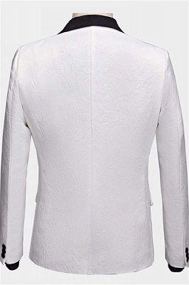 Floral White Men Suits with Black Lapel   Three Pieces Dinner Suits for Men_2
