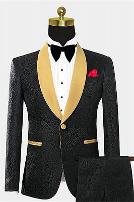 Black Two Pieces Prom Suits | Jacquard Tuxedo with One Button_1