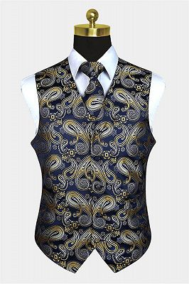 Tailored Navy Blue And Gold Paisley Prom Men Suits Vest Set_1