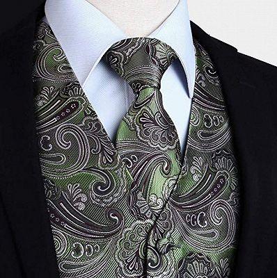 Tailored Olive Green Paisley Mens Waistcoat_3
