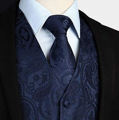 Silk Navy Blue Paisley Vest with Tie Set_3