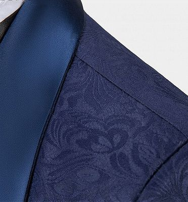 Navy Blue Three Pieces Tuxedo Online| Jacquard Bespoke Men Suits_4