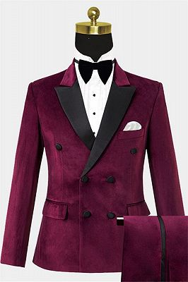 Burgundy Velvet Prom Suits for Men | Custom Notched Lapel Men Suits_1