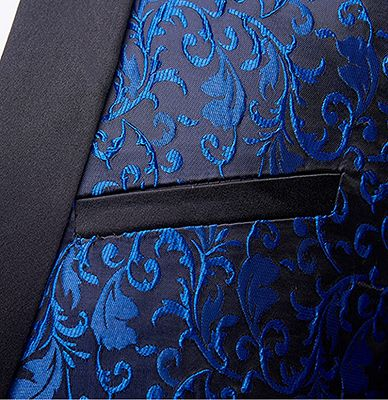 Blue Jacquard Tuxedo Jacket Online | Bespoke Slim Fit Men Suits for Prom_3